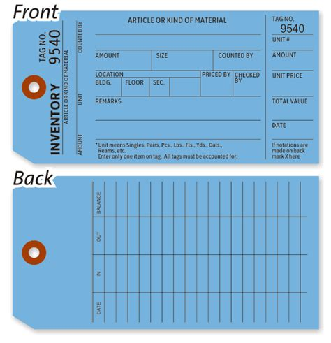 inventory tag template blue inventory count tag blue card stock available in