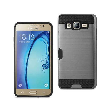Samsung Galaxy J5 Hybrid Armor Defender Cover With Kick Stand saapni reiko samsung galaxy on5 j5 slim armor hybrid with card holder in gray spwc01
