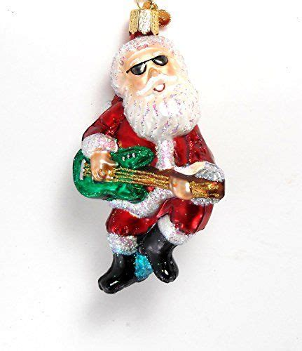 rock n roll santa guitar glass ornament old world