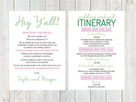 welcome letter wedding welcome letter wedding itinerary