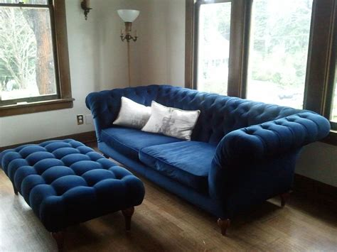 blue and white sofa classic grey linen upholstered chesterfield tufted single