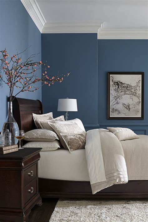 blue wall colors made with hardwood solids with cherry veneers and walnut