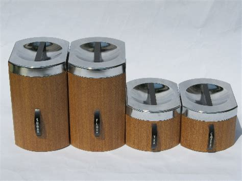 vintage metal kitchen canister sets retro mod 60s wood grain vintage kromex metal kitchen