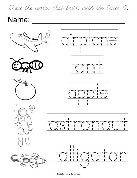 color that begins with a trace the words that begin with the letter a coloring page