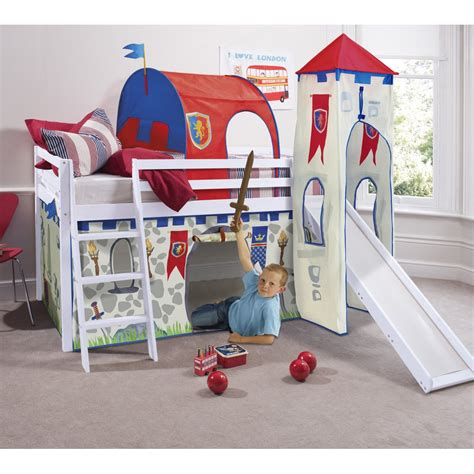 bed with slide and tent knights castles cabin bed with slide tent tower