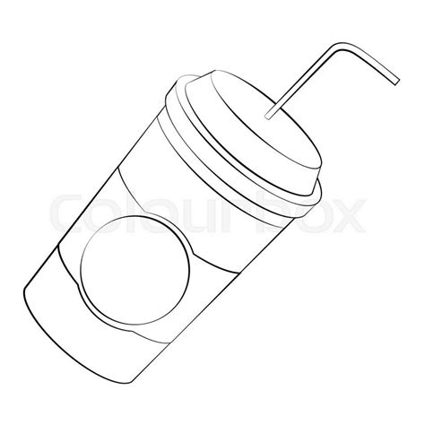 Black outline vector coffee cup on white background.   Stock Vector   Colourbox