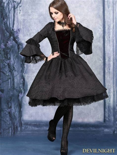 black victorian style gothic dress devilnightcouk