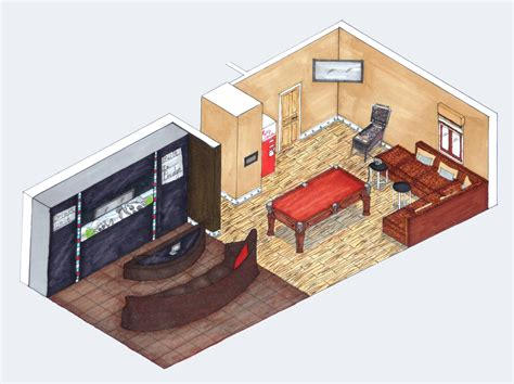 isometric view of bedroom isometric drawing interior design mapo house and cafeteria