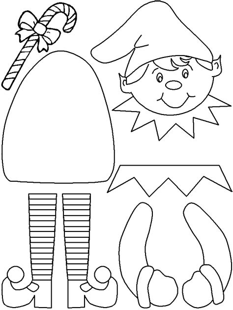 elf size coloring page printable elf craft color cut glue lovebugs and
