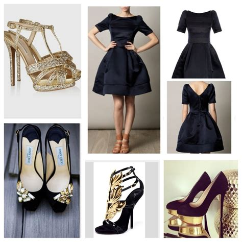 black and gold shoes and black dress black
