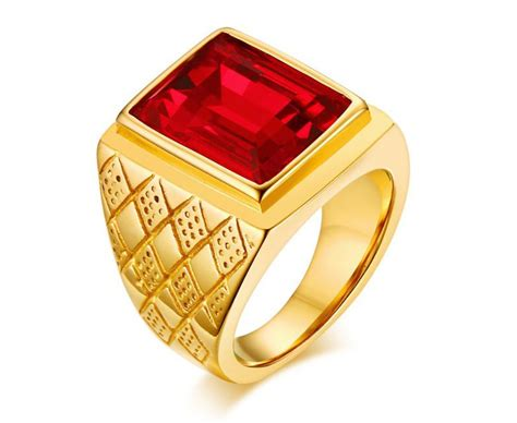 Wholesale Stainless Mens Rings Red Stone Ring