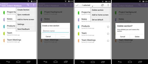 onenote android microsoft onenote updated lets you create notebooks and sections