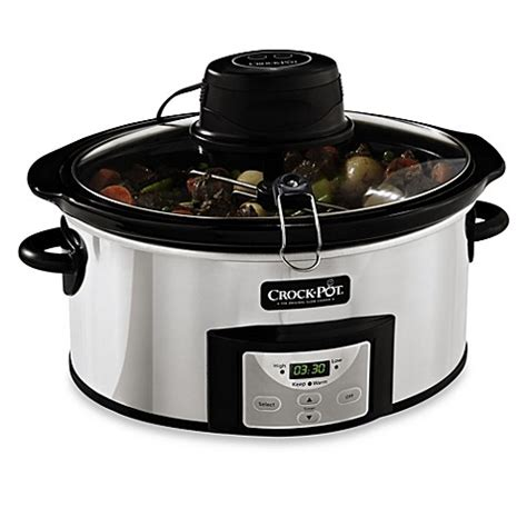 bed bath and beyond crock pot crock pot 174 6 quart digital slow cooker with istir automatic stirring system bed