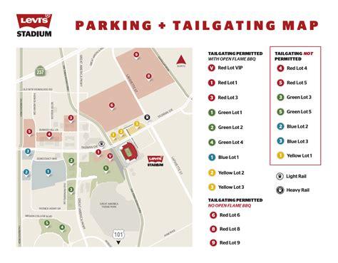 san francisco lot map 49ers parking at levi s stadium