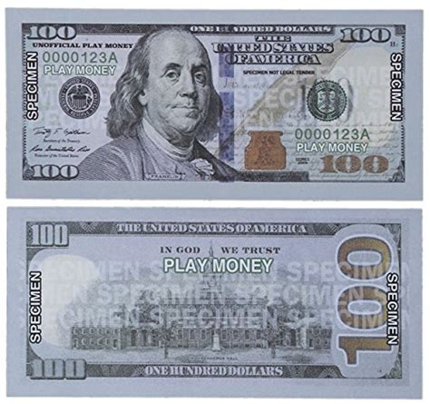 printable fake money double sided paper playing money 100 one hundred dollar bills