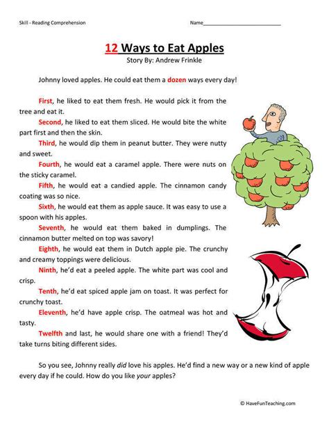 American Reading Comprehension Worksheets