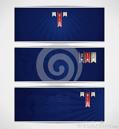 three blue banner template with ribbons and americ stock