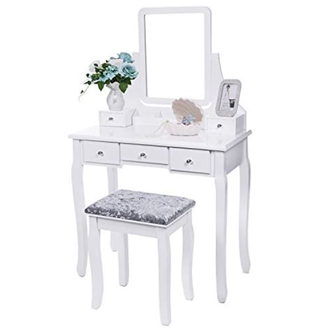 lyra 2 mirrored vanity stool set bewishome vanity set with mirror cushioned stool