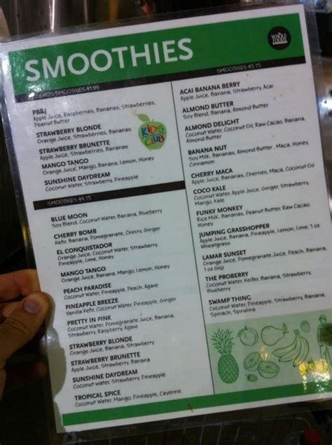 Whole Foods Detox Smoothie by Whole Foods Juicing Smoothie Menu Juicing Grub