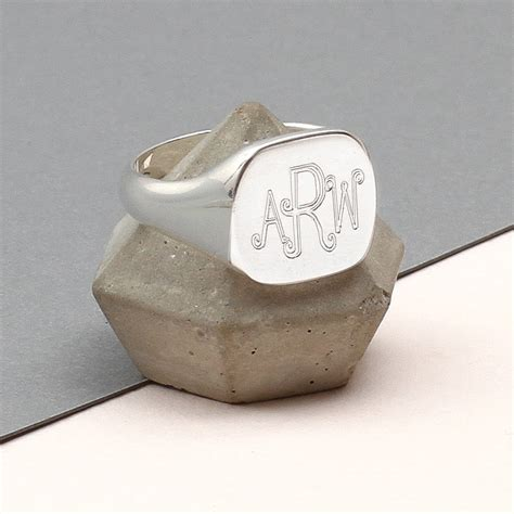 mens sterling silver monogram square signet ring by