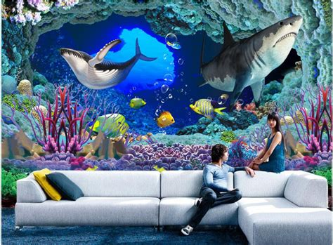 3d floor painting wallpaper underwater world mermaid 3d floor pvc 3d wallpaper custom photo non woven underwater world cave
