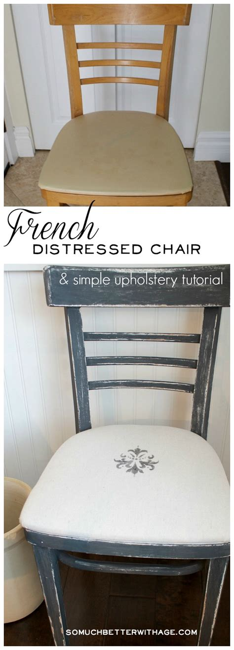 Upholstery Tutorial Chair - distressed chair and easy upholstery tutorial so