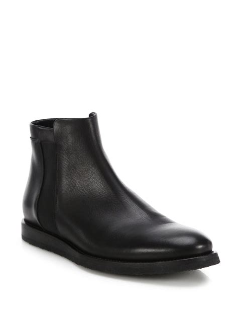 black leather chelsea boots lyst vince leather chelsea boots in black for