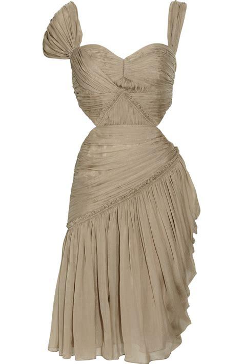 Matthew Williamson Lotus Chiffon Dress by Matthew Williamson Summer Pleated Silk Chiffon Dress In
