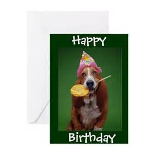 basset hound birthday lollipop greeting cards by stargiftshop