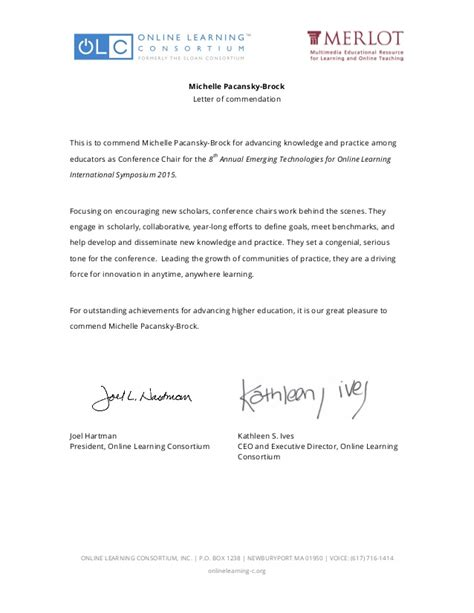 letter of commendation letter of commendation from the learning consortium