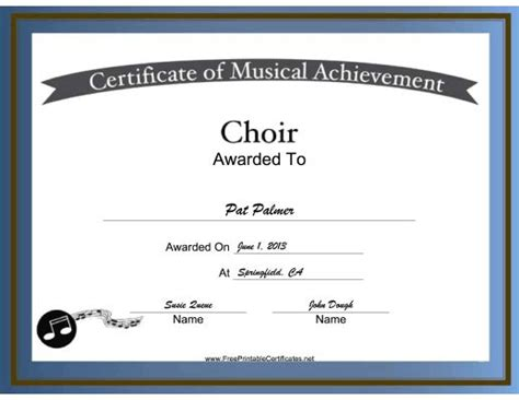 choir certificate template free printable choir certificates choir vocal