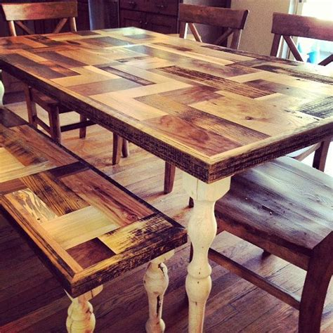 Handmade Farm Table - handmade farmhouse dining table with patchwork wooden top