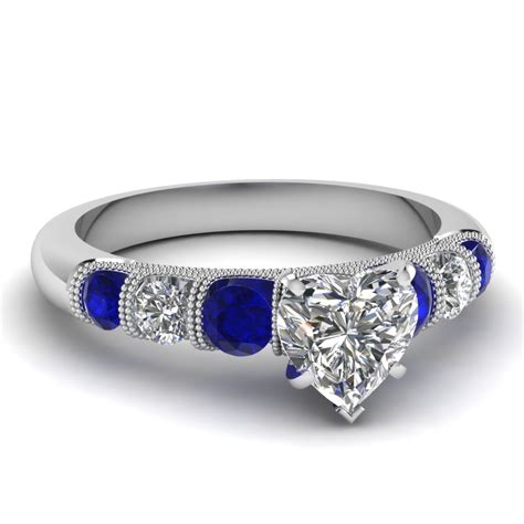 Blue Sapphire 7 40 Ct milgrain prong bar set engagement ring with