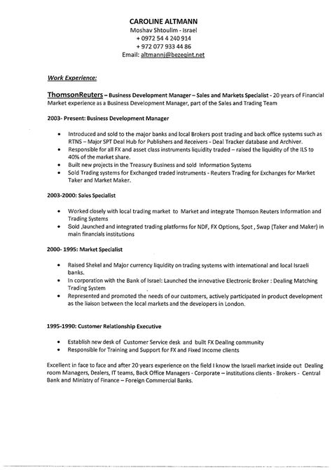 sle business school resume caroline altmann financial sales business development
