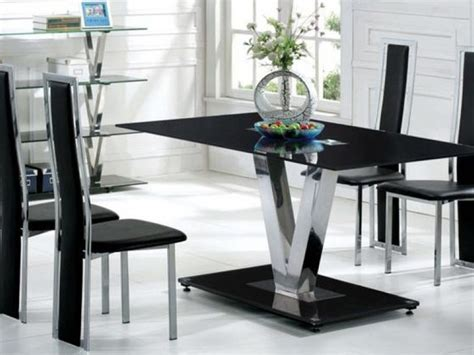 Black Glass Dining Table Set Black Glass Dining Table And 6 Black Chairs Set Homegenies