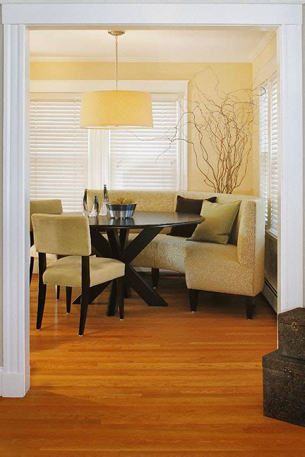 modern dining banquette curved banquette dining room contemporary with curtains blue