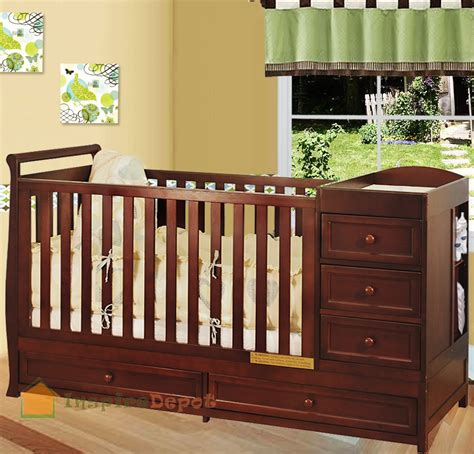 Crib Dresser Changing Table Combo Multi Function Cherry Solid Wooden Baby Crib Combo Dresser Changing Table Pad Ebay