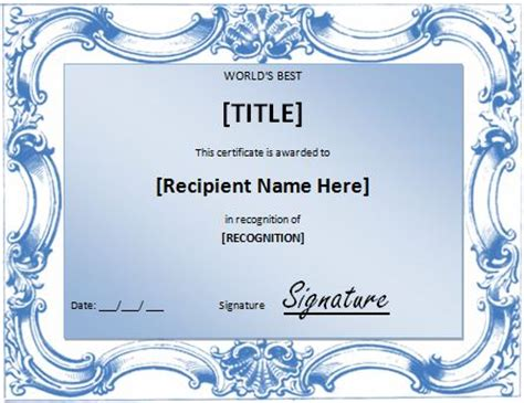 The Best Templates world s best award certificate template formal word