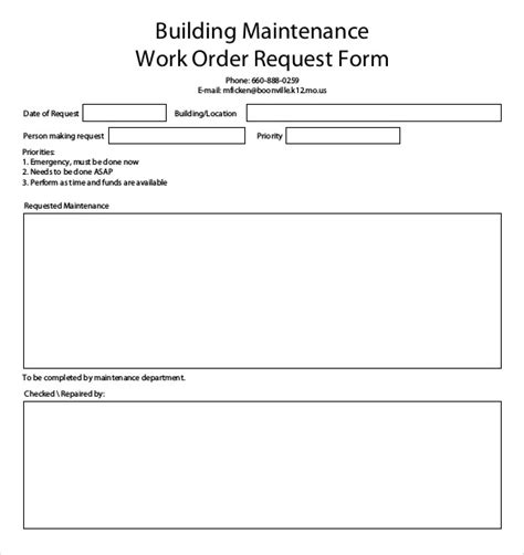 work order maintenance request form template 20 work order templates pdf doc free premium templates