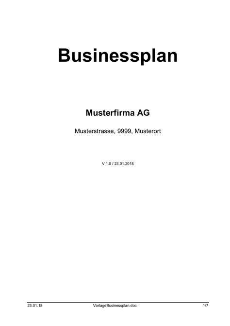 Word Vorlage Businessplan businessplan vorlage word format muster vorlage ch