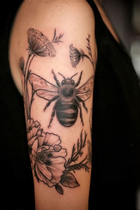 tattoos by bee black and grey bee and flowers by carrier