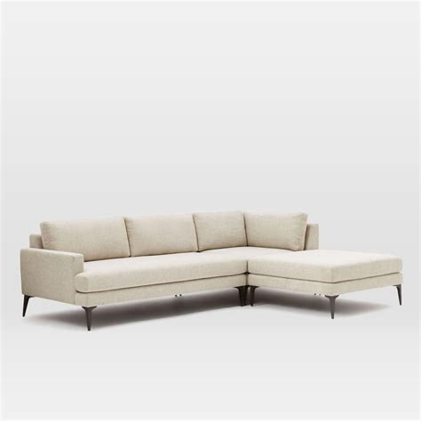 twill sectional andes 3 piece chaise sectional stone twill west elm au