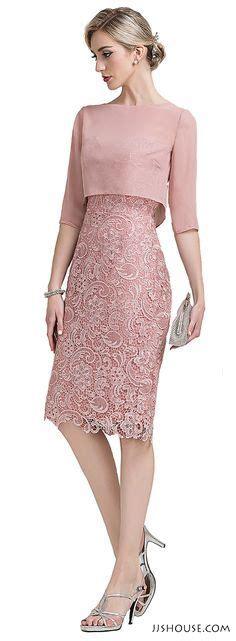 Dress Brokad Sheath Column Sweetheart Knee Length Lace Of The