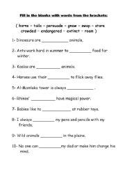 english worksheets vocabulary and grammar test grade 4