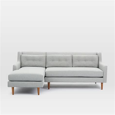 crosby 2 piece chaise sectional crosby mid century 2 piece chaise sectional west elm