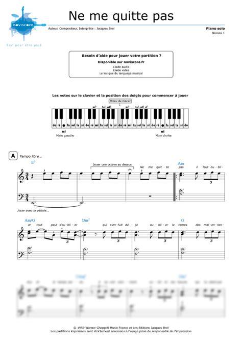 tutorial piano ne me quitte pas partition piano ne me quitte pas jacques brel