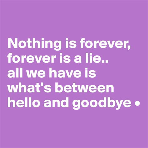 Nothing Is Forever nothing is forever forever is a lie all we is what