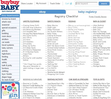 baby registry checklist search engine at search