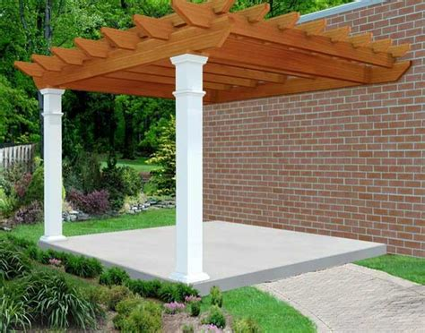 pergola design ideas wall mounted pergola rough cut cedar