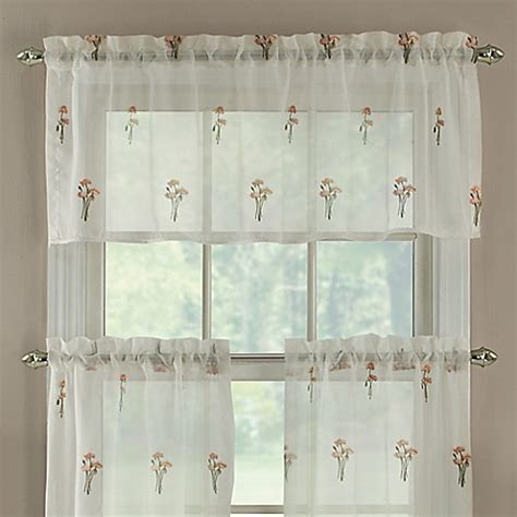Coral Valance Curtains Buy Poppy Embroidered Window Curtain Valance In Coral From Bed Bath Beyond
